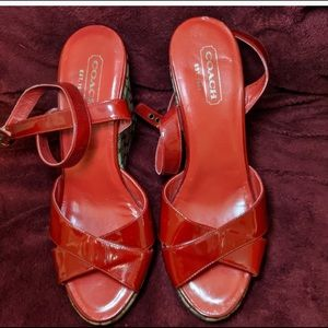 COACH shiny patent red leather monogram wedges